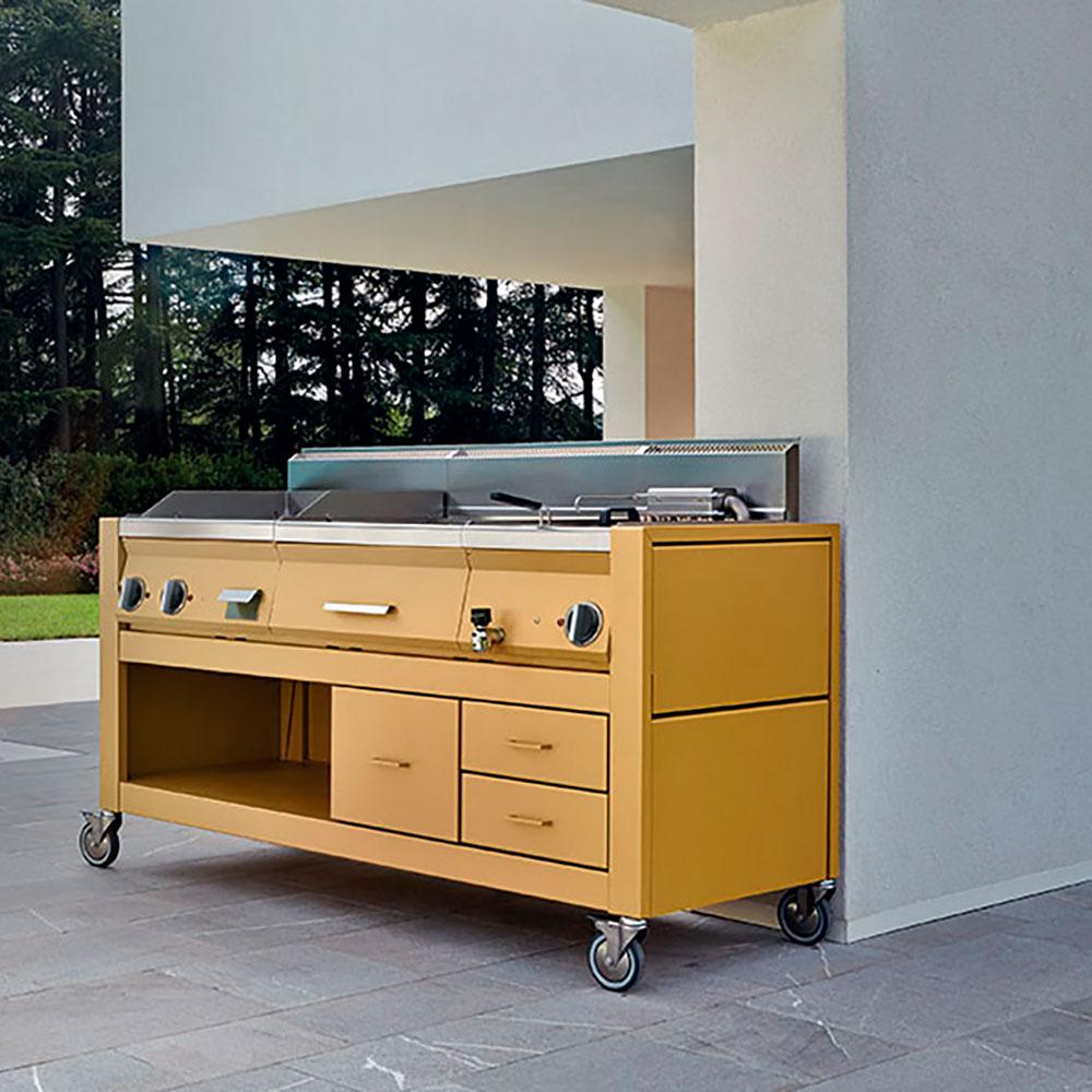 cucina da esterno gialla